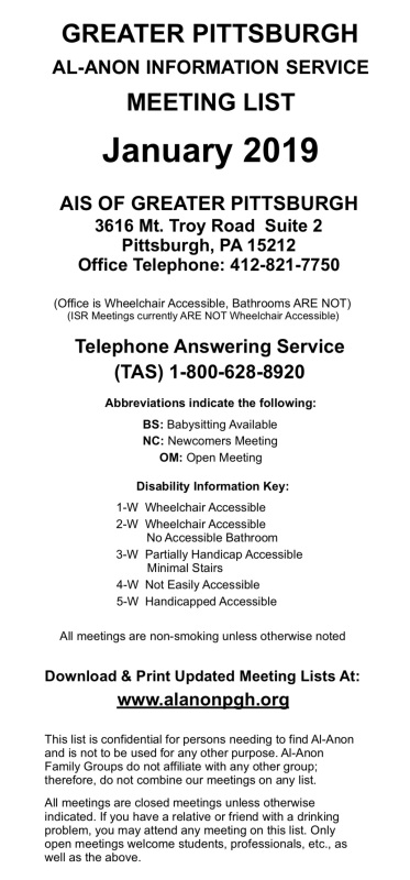 Pittsburgh Al-Anon Meeting List
